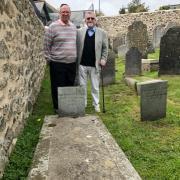 Rabbi Doug Kahn & Keith Pearce at the grave of Solomon Teacher